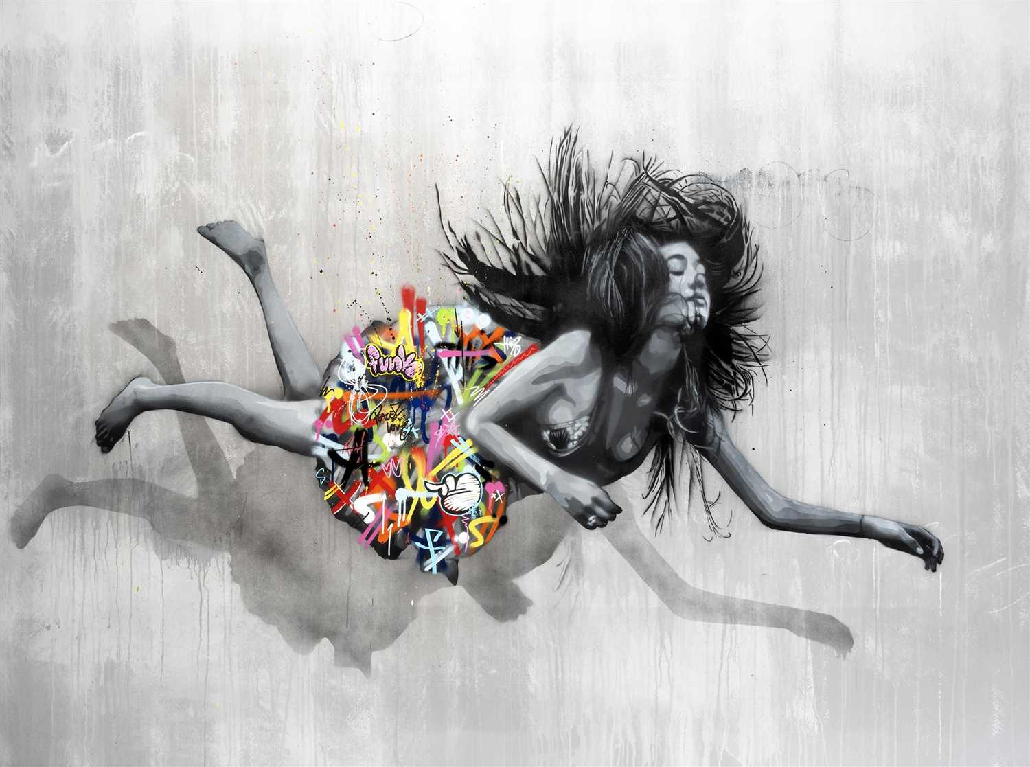 Lot 421 - Martin Whatson & Snik (Collaboration), 'Falling Girl', 2016