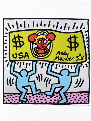 Lot 49 - Keith Haring (American 1958-1990), 'Andy Mouse', 1986