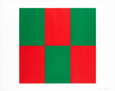Lot 302-Carmen Herrera (Cuban b.1915), 'Verde y Rojo for Studio'