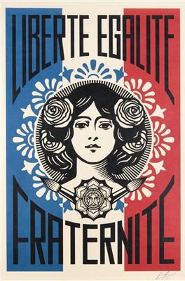 Lot 75 - Shepard Fairey (American b.1970), 'Liberte, Egalite, Fraternite & Make Art Not War', 2018
