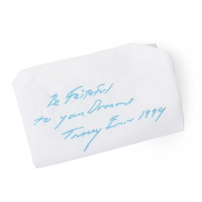 """Lot 77 - Tracey Emin (British, born 1963) """"BE FAITHFUL TO YOUR DREAMS"""" EMBROIDERED HANDKERCHIEF, 1999"""