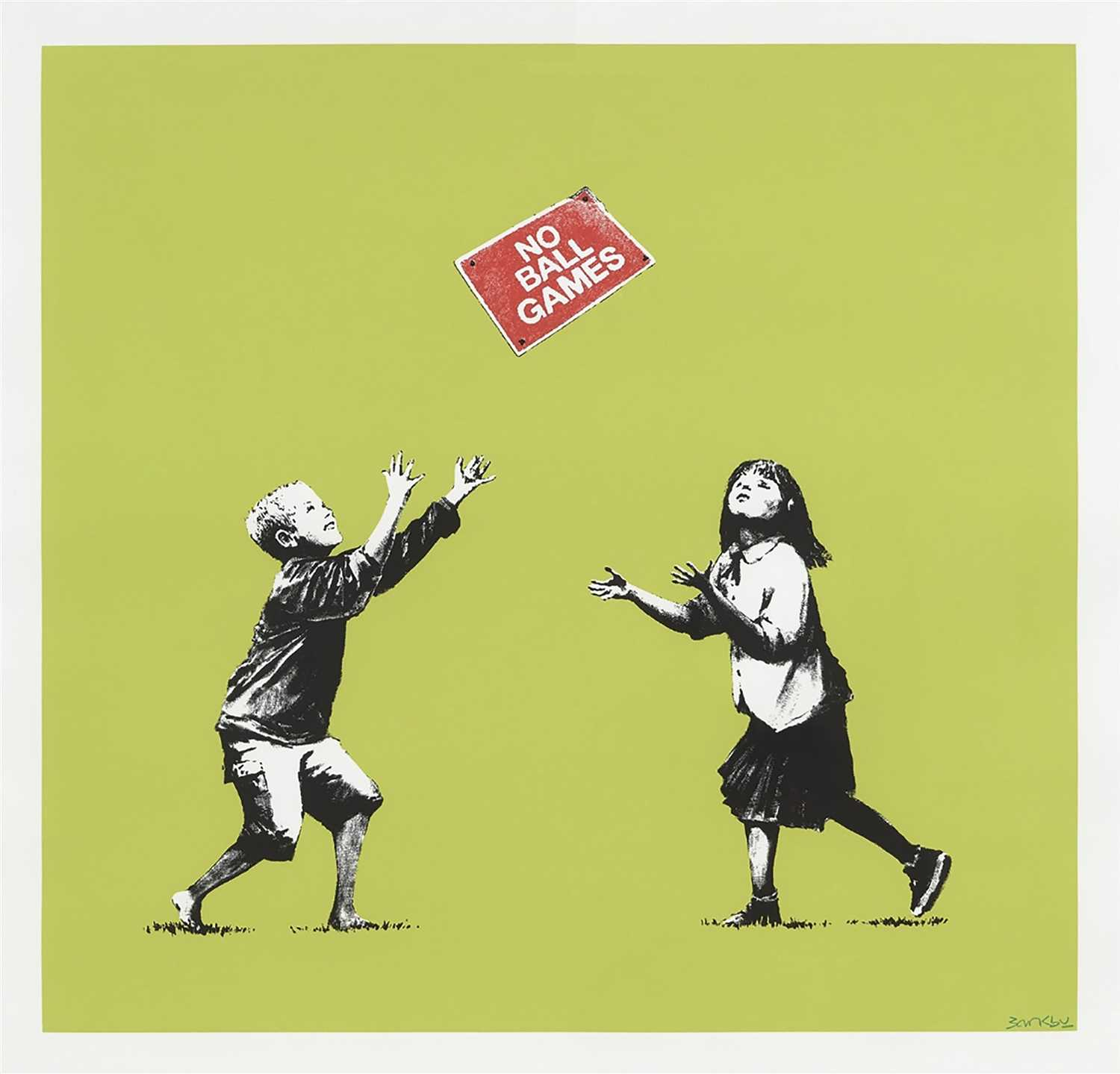 Lot 377-Banksy (British ) (B.1974). NO BALL GAMES (GREEN)