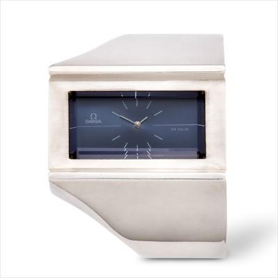 Lot 12-Omega - a rare 1970s silver Jeux d'Argent DeVille  manual wind bangle watch.