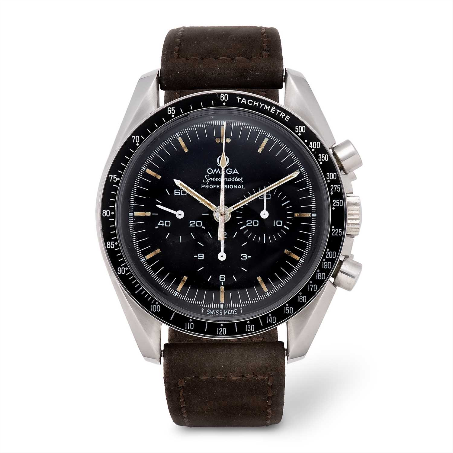 Lot 5-Omega - a 1970s stainless steel Speedmaster Professional chronograph manual wind wrist watch.