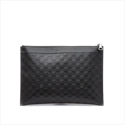 Lot 14-Louis Vuitton - an onyx Damier Infini leather pochette.