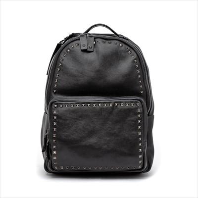 Lot 24-Valentino Garavani - a black leather Rock Stud backpack.