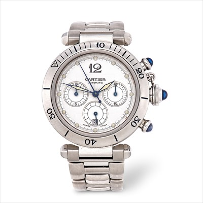 Lot 9-Cartier - a stainless steel Pasha automatic chronograph bracelet watch.