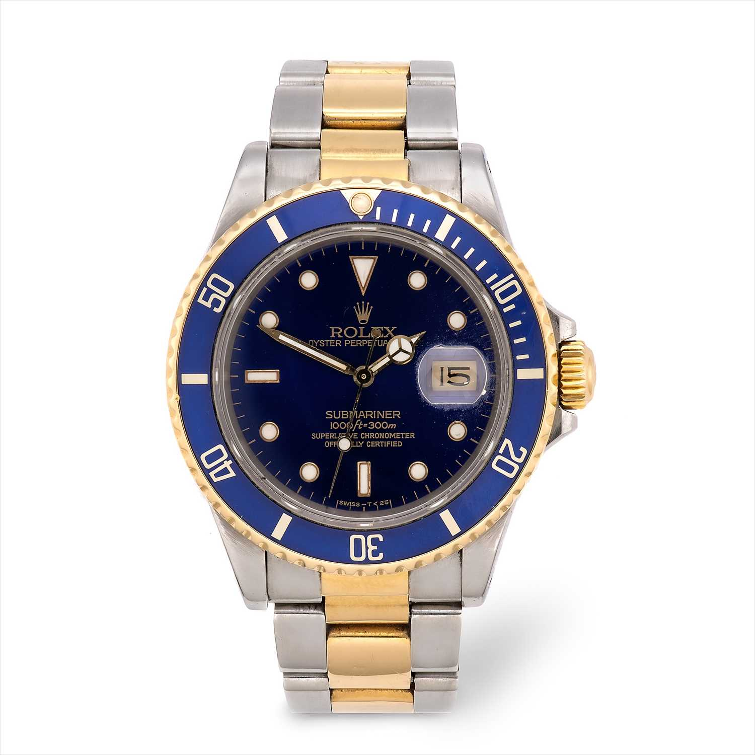 Lot 112-Rolex - an Oyster Perpetual Date Submariner bi-metal automatic bracelet watch.