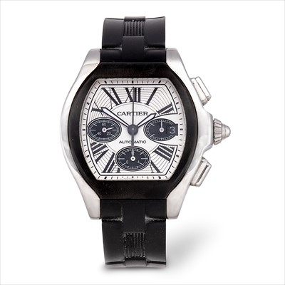 Lot 15-Cartier - a stainless steel Roadster chronograph wrist watch.