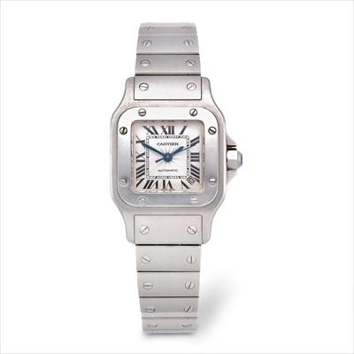 Lot 21-Cartier - a stainless steel Santos automatic bracelet watch.