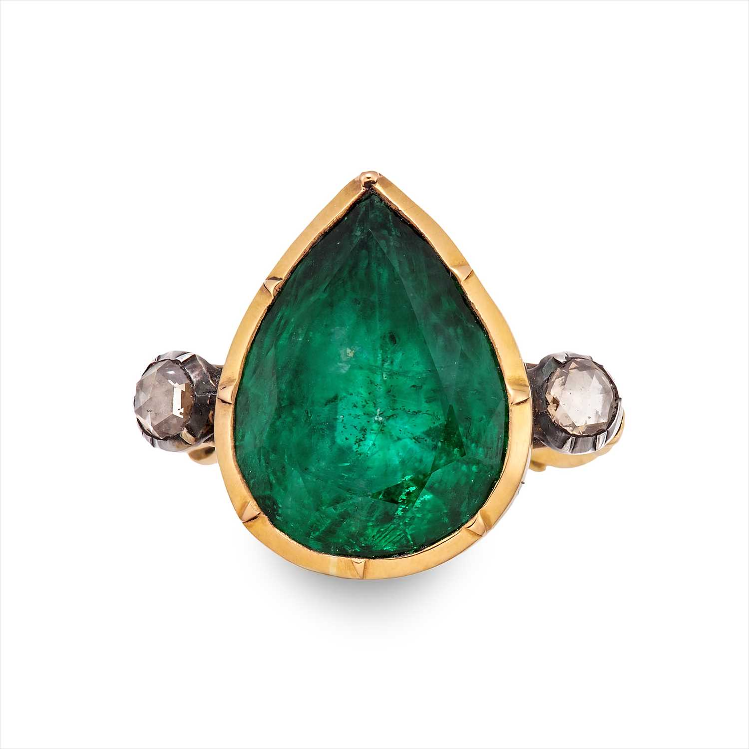 Lot 235-A foil-back emerald and diamond ring.