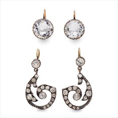 Lot 23-A pair of foil-back rock crystal earrings.