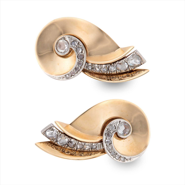 Lot 138-Trabert & Hoeffer Mauboussin - a pair of 1940s diamond earrings.