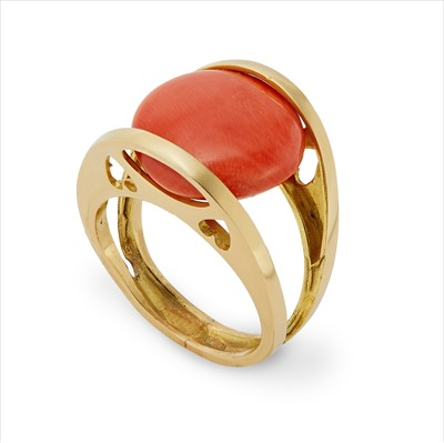 Lot 23-A French coral ring.