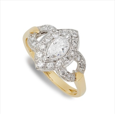 Lot 14-An 18ct gold diamond cluster ring.