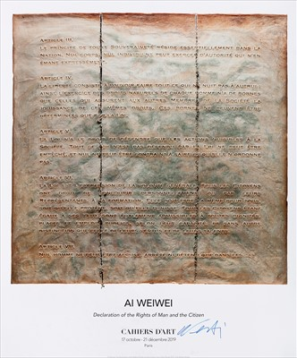 Lot 1-Ai Weiwei (Chinese 1957-), 'Declartion Of The Rights Of Man And The Citizen', 2019