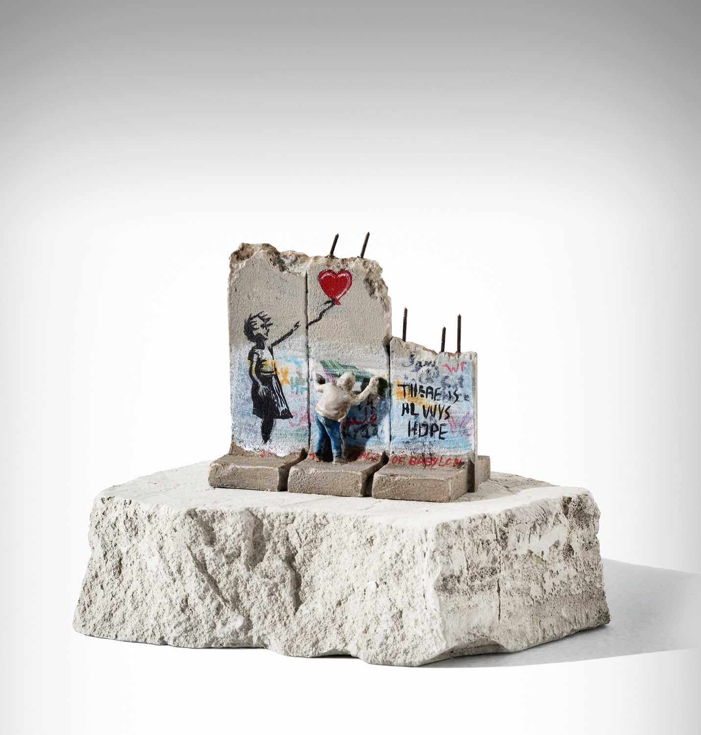 Lot 86-Banksy (British 1974-), 'Walled Off Hotel - Three Part Souvenir Wall Section (Girl With Balloon)'