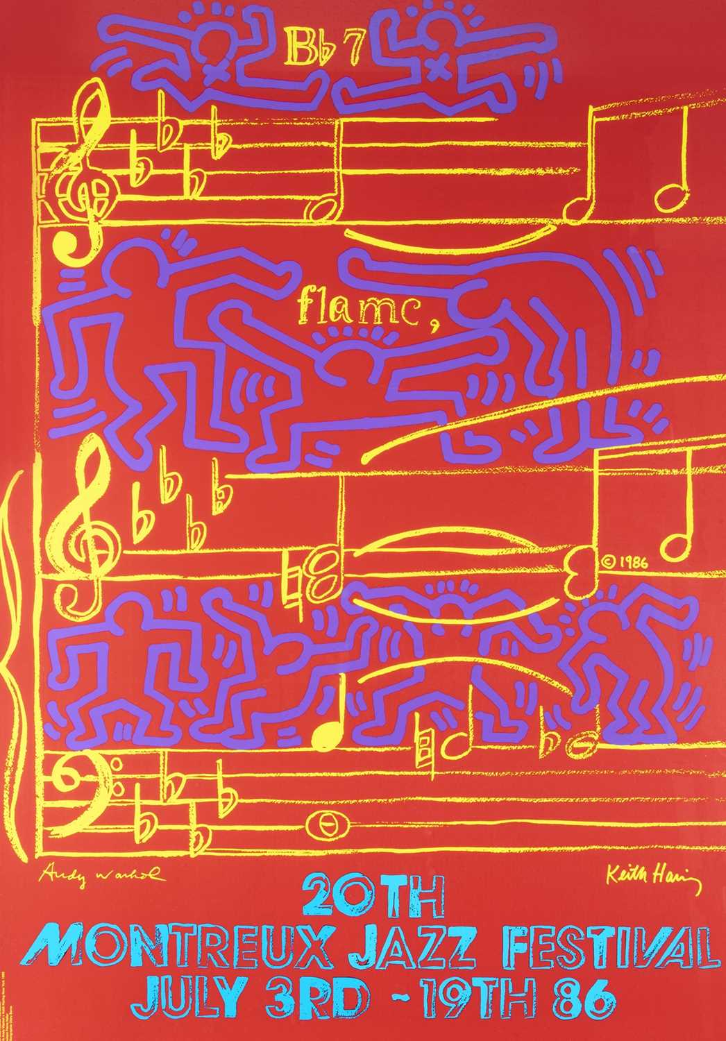 Lot 1-Andy Warhol & Keith Haring (Collaboration), 'Montreux Jazz Festival', 1986