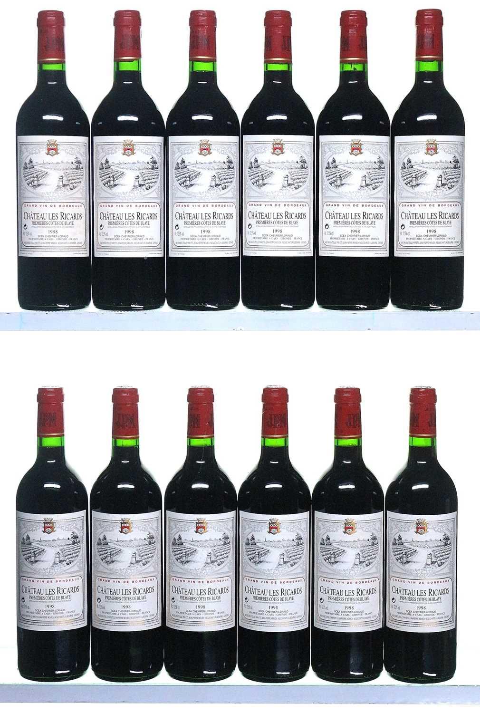 Lot 18-12 bottles 1998 Chateau Les Ricards