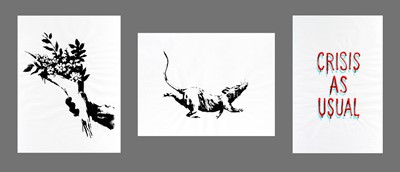 Lot 69-Banksy (British 1974-), 'GDP Flower Thrower, GDP Rat & GDP Crisis As Usual' 2019 (3 Works)