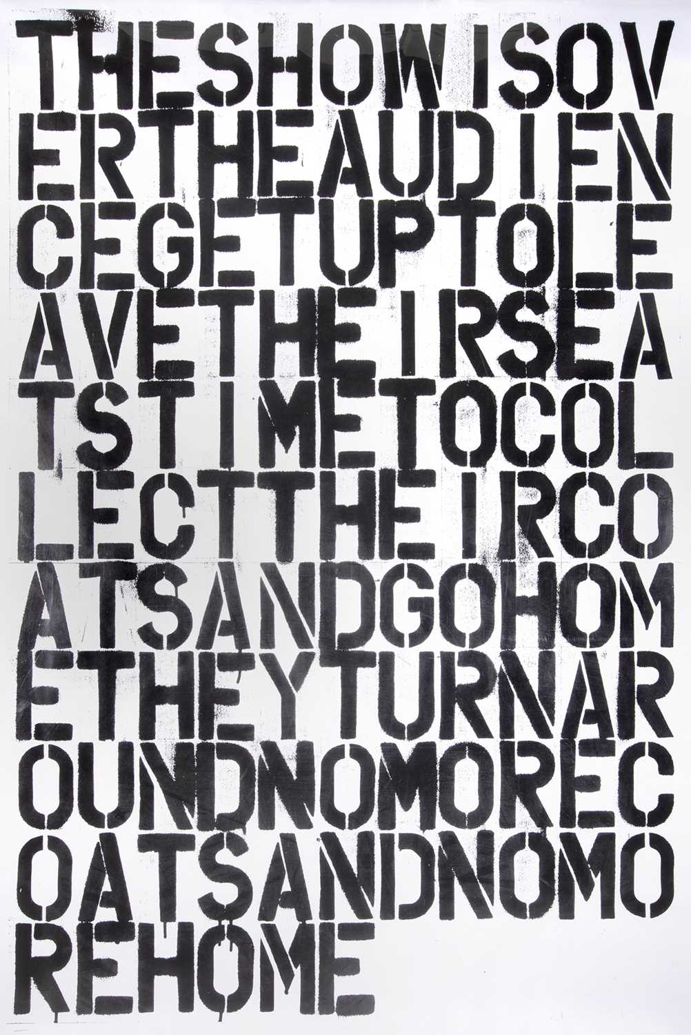 Lot 12-Christopher Wool (After), 'The Show Is Over'