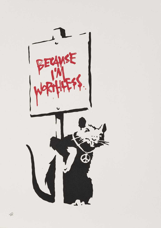Lot 75-Banksy (British 1974-), 'Because I'm Worthless', 2004