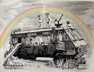 Lot 70 - Banksy (British 1974-), 'Police Riot Van (Dismaland Gift Print)', 2015