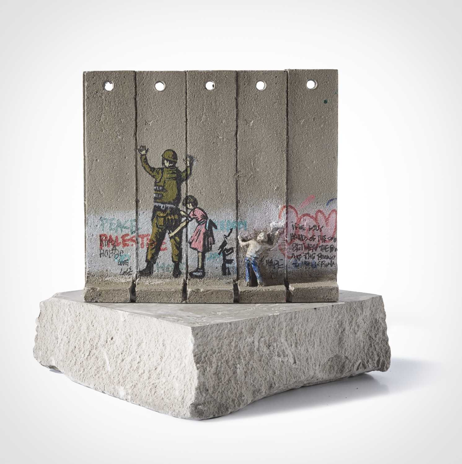 Lot 55-Banksy (British 1974 -), Walled Off Hotel - Five Part Souvenir Wall Section (Stop And Search)