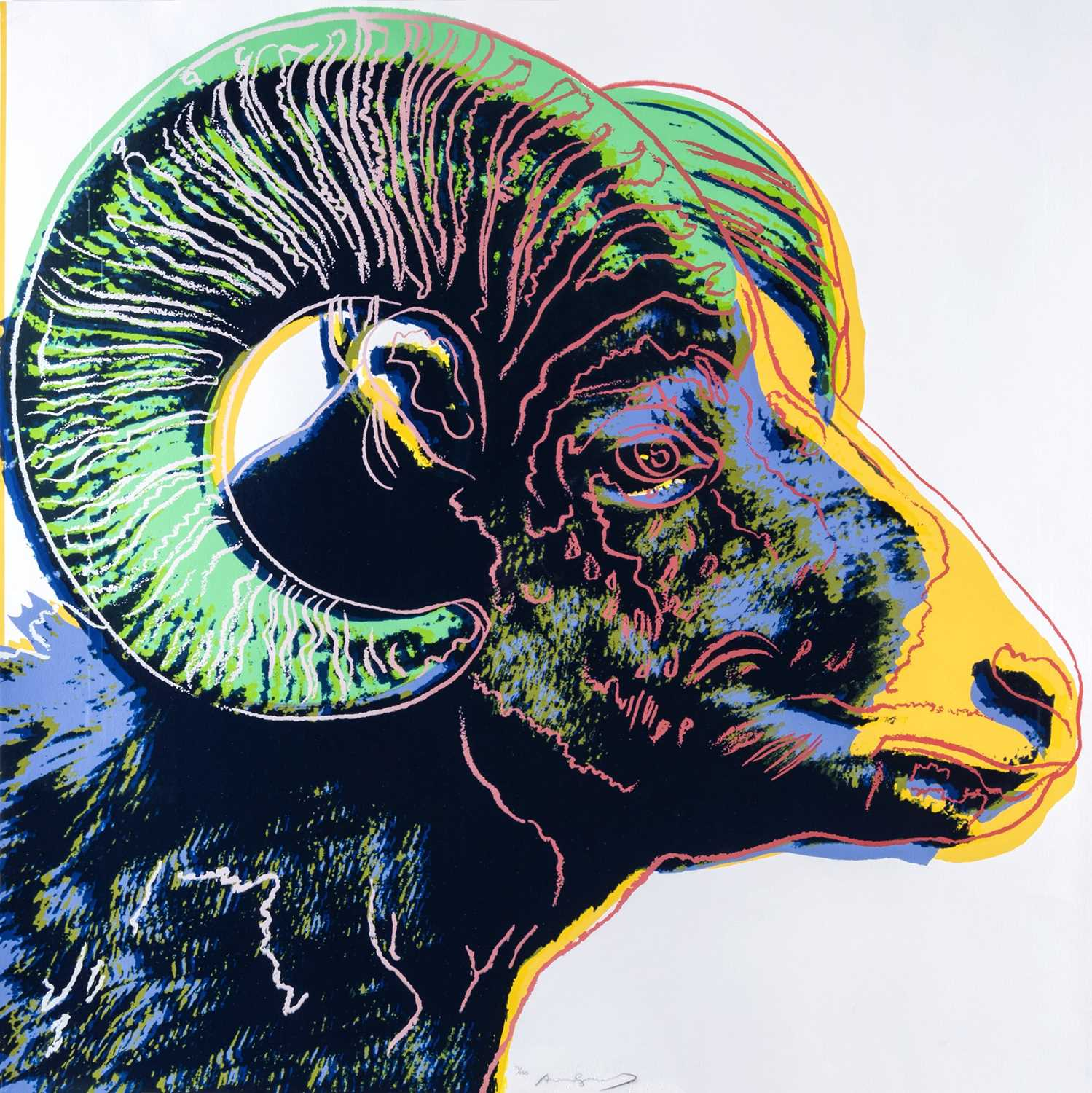 Lot 1 - Andy Warhol (American 1928-1987), 'Bighorn Ram, from Endangered Species', 1983