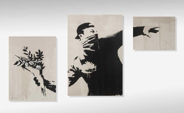 224 - Banksy (British 1974-), 'Thrower (Grey)', triptych, 2019