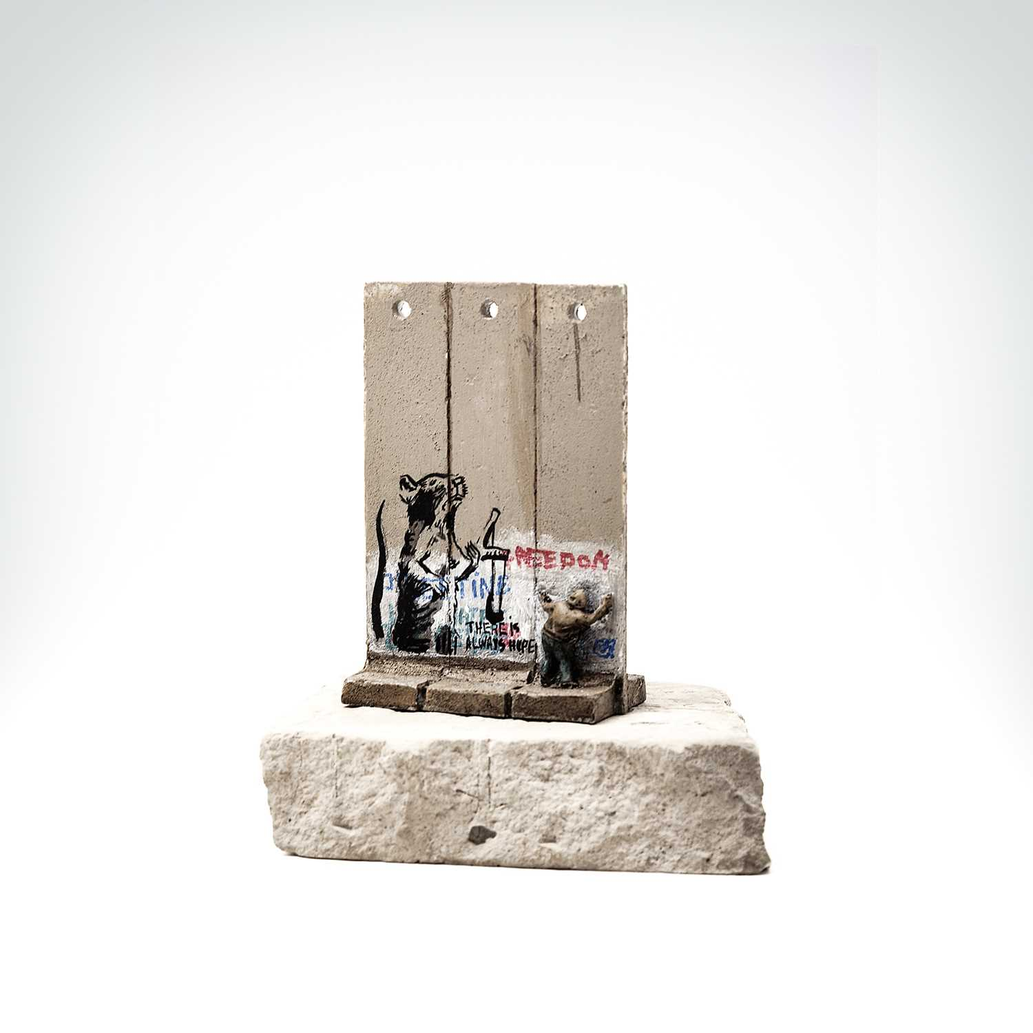 Lot 57 - Banksy (British 1974 -), Walled Off Hotel - Three-Part Souvenir Wall Section (Slingshot Rat)