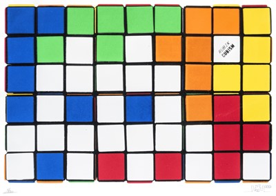 Lot 92 - Invader (French 1969-), '6 Cubes (Orange & Yellow)', 2010