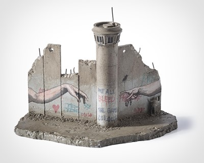 Lot 60 - Banksy (British 1974-), Walled Off Hotel, Deafeated - Eight-Part Souvenir Wall Section With Watch Tower (The Creation Of Adam)