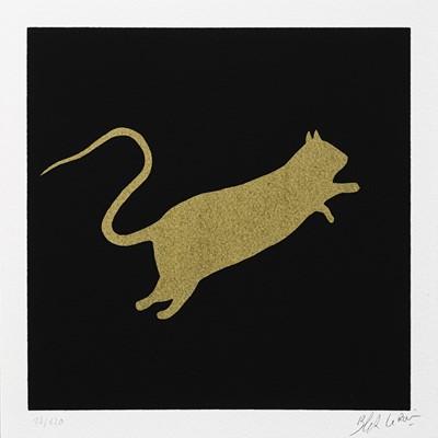 Lot 78 - Blek Le Rat (French 1951-), Rat (Gold on Black, White on Black & White on Red), 2020