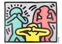 Lot 59 - Keith Haring (American 1958-1990), 'See No Evil, Hear No Evil, Speak No Evil, Radiant Baby & Dog'