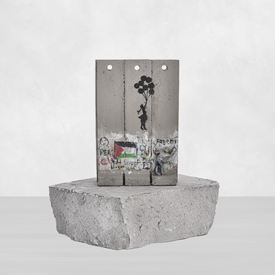 Lot 74 - Banksy (British 1974 -), Walled Off Hotel - Three-Part Souvenir Wall Section (Girl With Balloons Palestine)