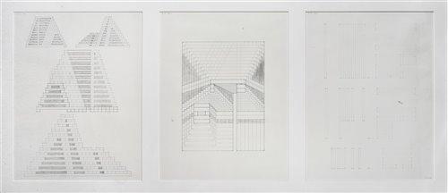 Lot 61 - Jackie Ferrara (American b.1929), 'Three-Part Study For Unexecuted A175', 1977