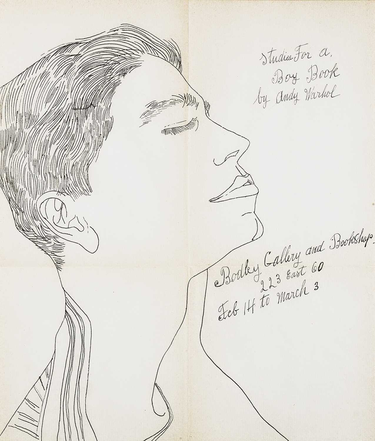 Lot 3 - Andy Warhol (American 1928-1987), 'Studies For A Boy Book (Bodley Gallery Announcement)', c.1959