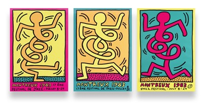 Lot 93 - Keith Haring (American 1958-1990), 'Montreux Jazz De Festival (Green, Pink & Yellow)', 1983