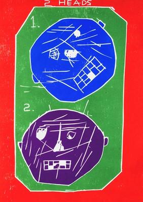 Lot 29 - David Shrigley (British 1968-), 'Two Heads Woodcut', 2016