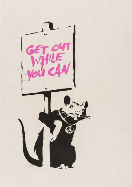 Lot 240 - Banksy (British 1974-), 'Get Out While You Can (Pink)', 2004