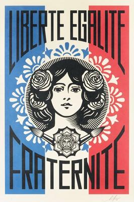 Lot 113 - Shepard Fairey (American 1970-), 'Liberte, Egalite, Fraternite', 2018