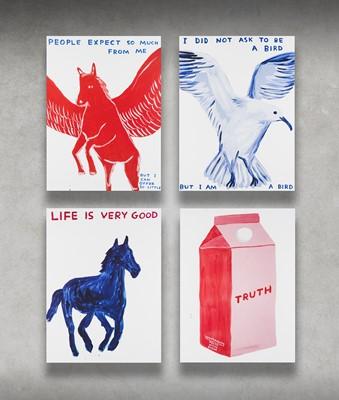 Lot 23 - David Shrigley (British 1968-), 'People Expect So Much Of Me, Life Is Very Good, I Did Not Ask To Be A Bird & Truth', 2021