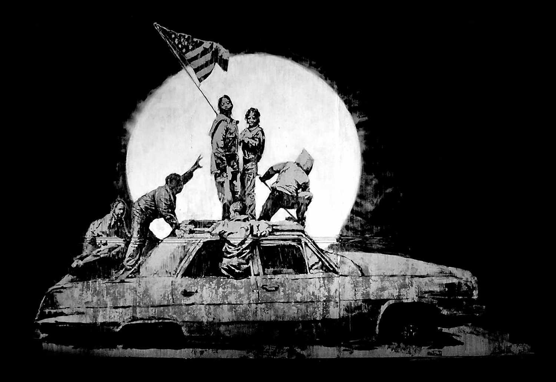 Lot 1 - Banksy (British 1974-), 'Flag (Silver)', 2006