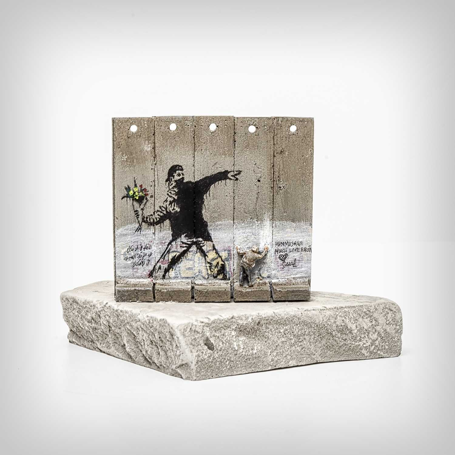 Lot 73 - Banksy (British 1974-), 'Walled Off Hotel - Five-Part Souvenir Wall Section (Flower Thrower)'