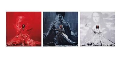 Lot 145a - Gerard Rancinan (French 1953-), 'Yan Pei Ming Triptyque', 2011
