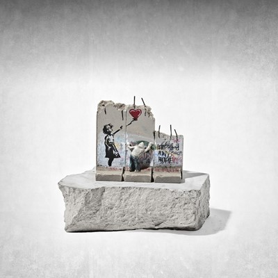 Lot 29 - Banksy (British 1974 -), 'Walled Off Hotel - Three-Part Defeated Wall Section (Girl With Balloon)'