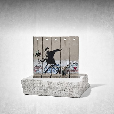 Lot 27 - Banksy (British 1974-), 'Walled Off Hotel - Five-Part Souvenir Wall Section (Flower Thrower)'