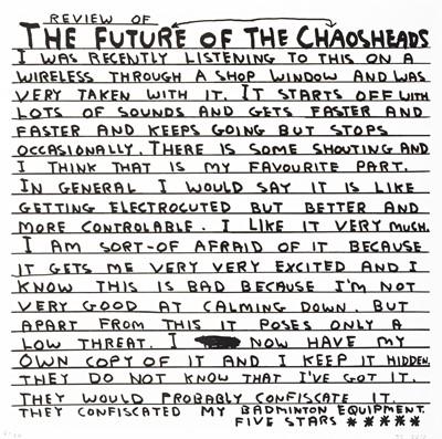 Lot 61 - David Shrigley (British 1968-), 'The Futureheads - Chaos' 2010