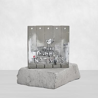 Lot 9 - Banksy (British 1974 -), 'Walled Off Hotel - Two-Part Souvenir Wall Section (Make Hummus Not Walls)'